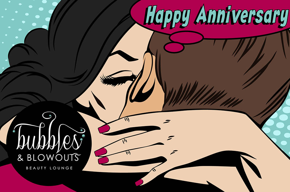 Bubbles & Blowouts - Happy Anniversary Gift Card