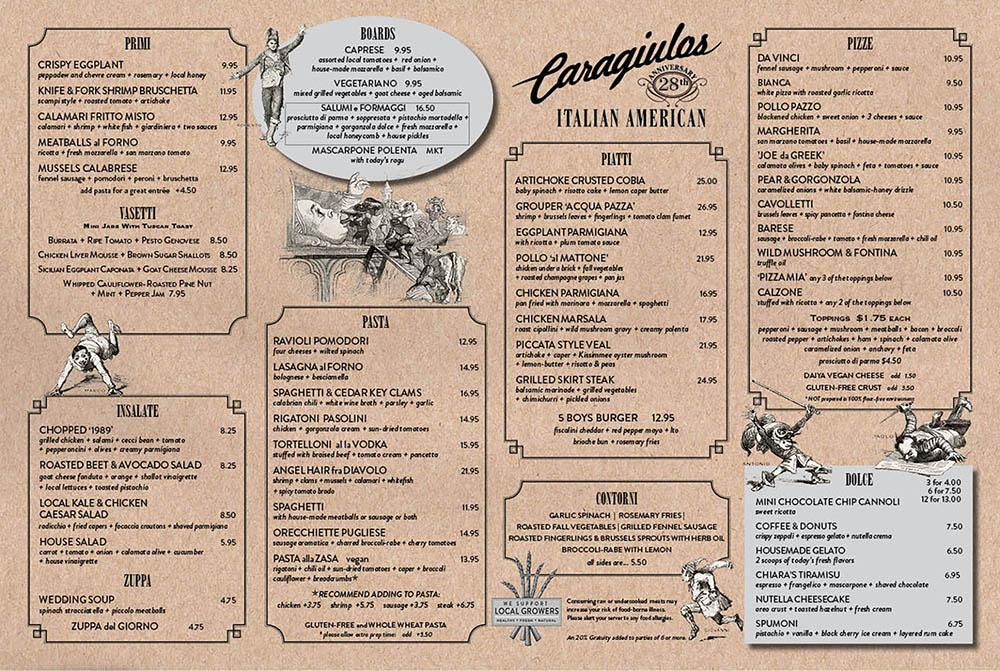 Caragiulo's Dinner Menu