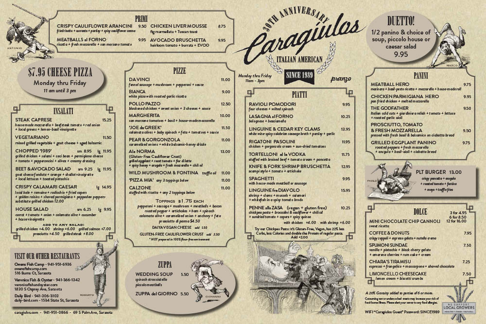 Caragiulo's Lunch Menu