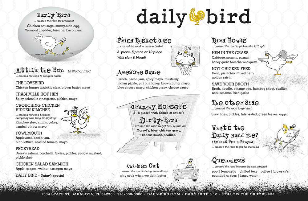 Daily Bird Placemat Menu