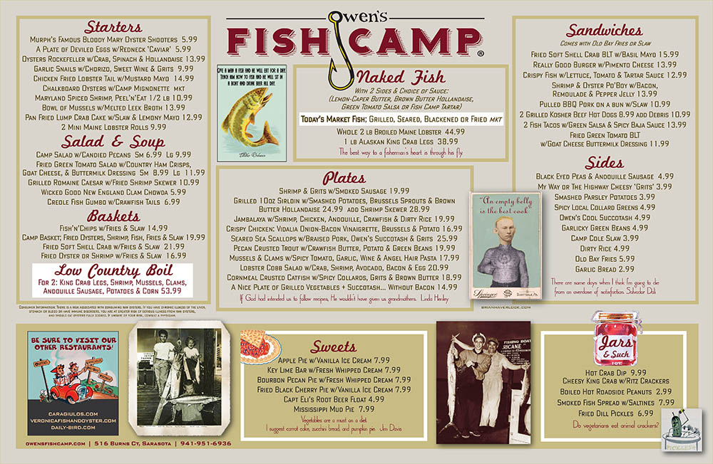 Owen's Fish Camp Menu