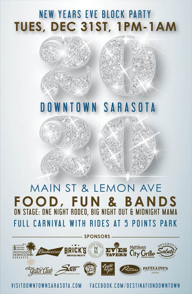 Sarasota Downtown Merchants Association 2020 News Years Eve - Poster