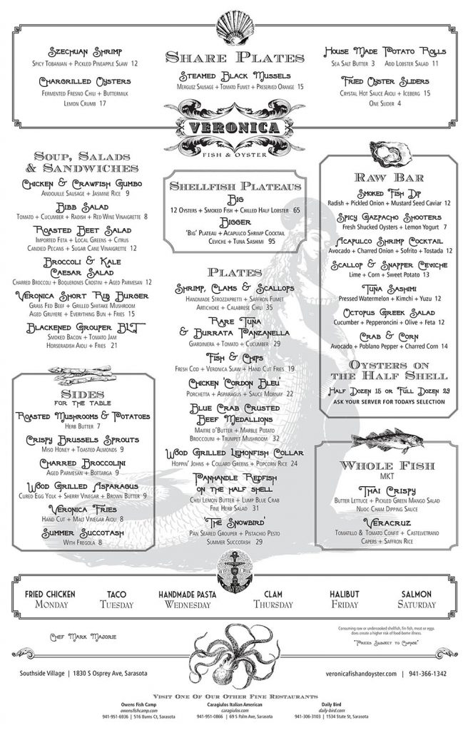 Veronica Fish & Oyster Dinner Menu